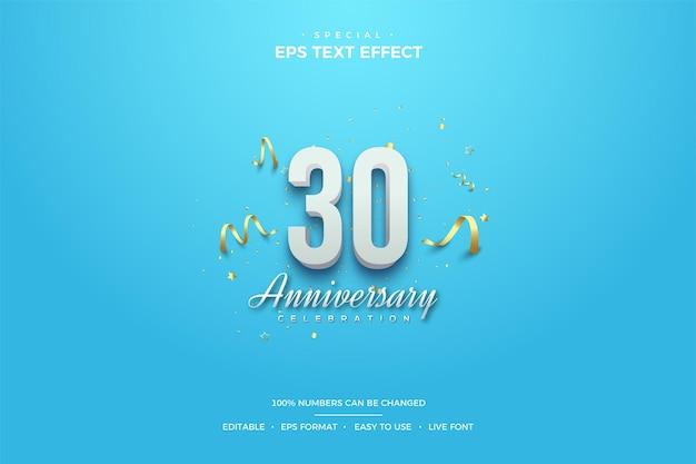 30주년 기념 흰색 3d 음영 텍스트 효과