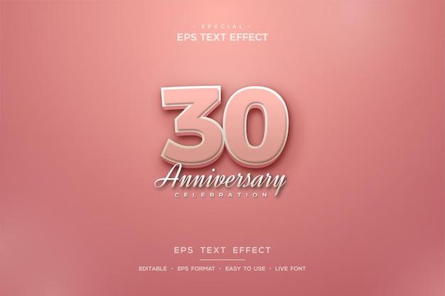 30주년 기념 3d 분홍색 숫자가 있는 텍스트 효과