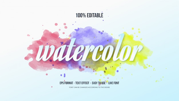 Text effect with a bright watercolor theme.