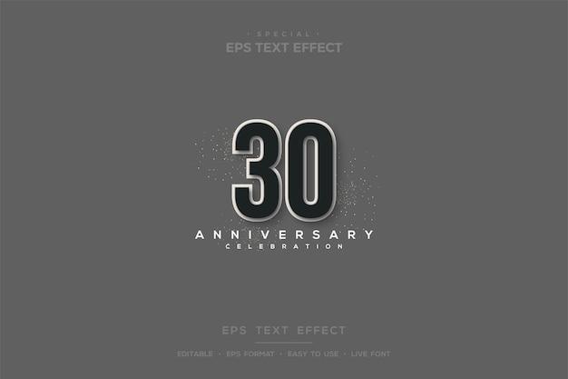 30주년 기념 조밀한 3d 숫자를 사용한 텍스트 효과