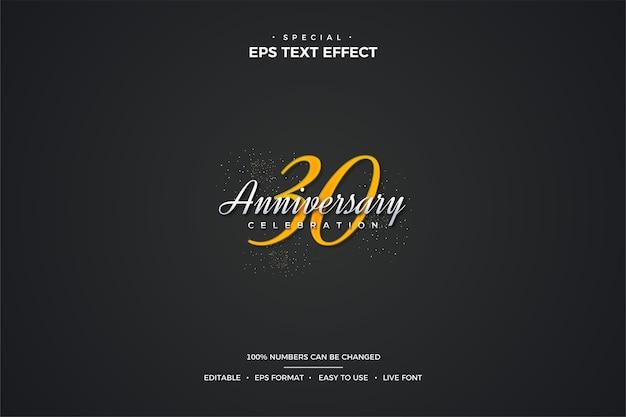 Текстовый эффект с элегантными цифрами 30-летия золотого цвета.