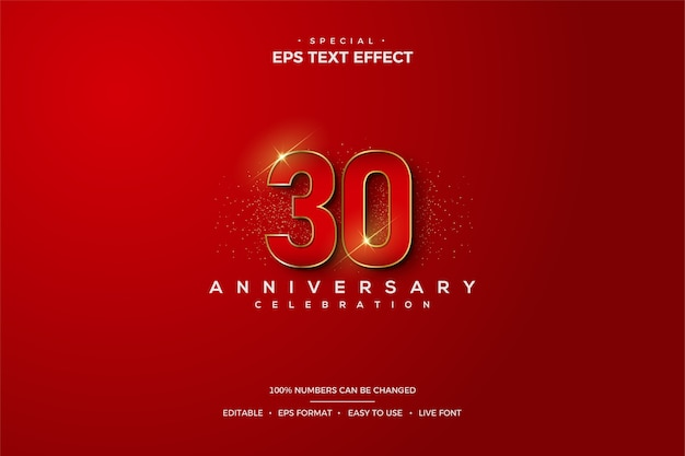 Text effect with elegant red 30th anniversary numbers.