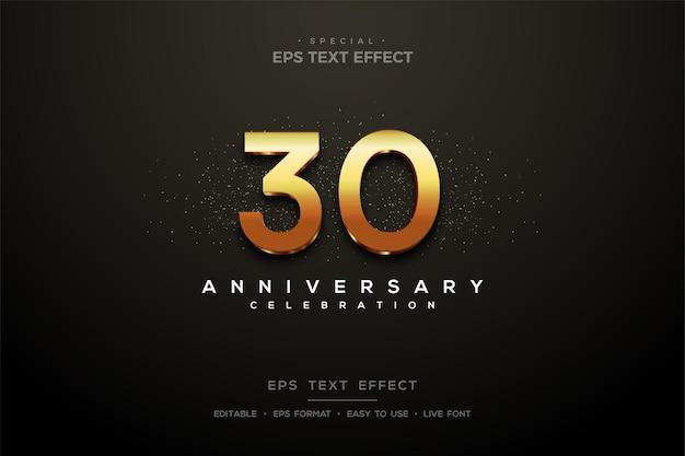 30주년 기념 반짝이는 3d 골드 숫자가 있는 텍스트 효과