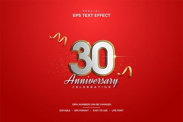 メタリックな30周年記念数字とゴールドのラインによるテキスト効果。