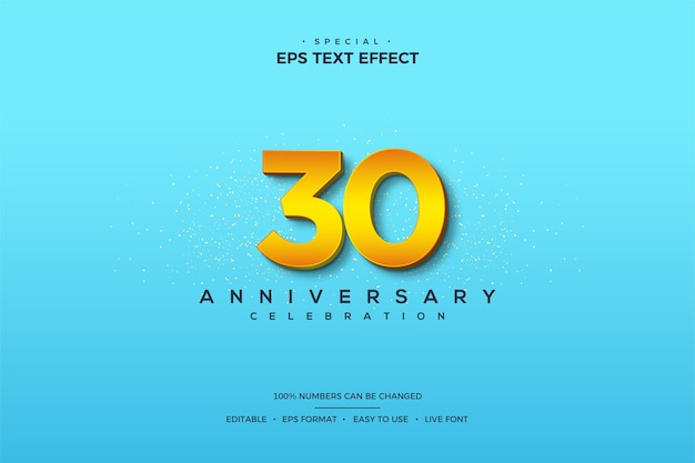 Text effect with numbers on its 30th anniversary with 3d numbers on a bright blue background.