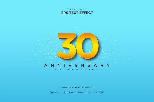 明るい青色の背景に3dの数字を使用した、30周年の数字によるテキスト効果。
