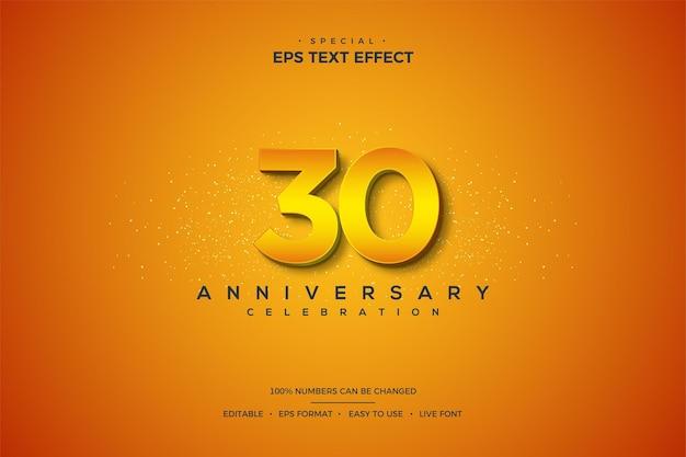 30주년 기념 주황색 3d 숫자가 있는 텍스트 효과