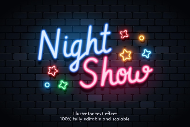 Text effect with realistic neon style