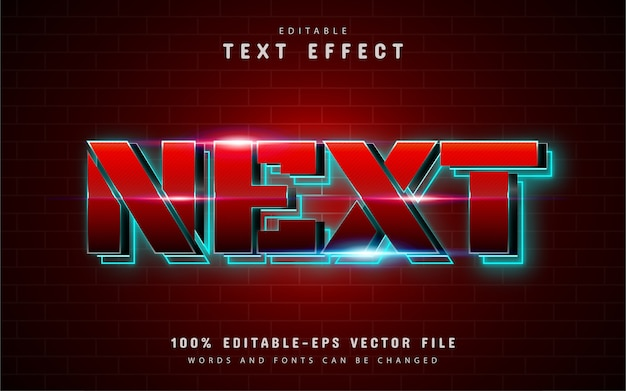 Next text effect with red gradient