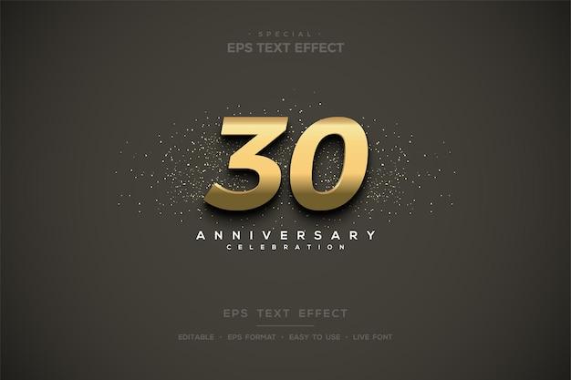 30주년 기념으로 음영 처리된 3d 골드 숫자가 있는 텍스트 효과