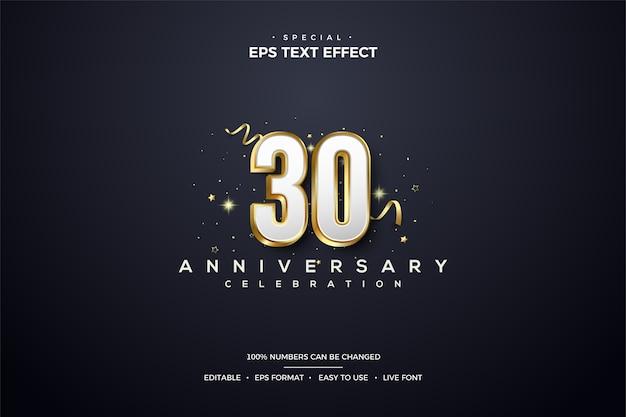 豪華なゴールドのラインで包まれた白い30周年記念の数字によるテキスト効果。