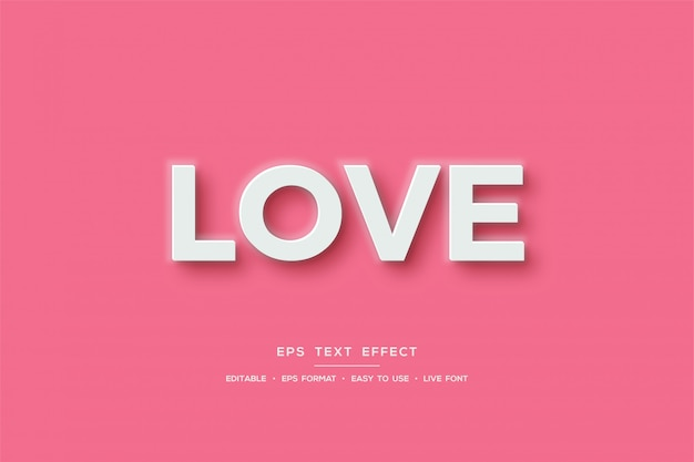 Text effect with white love writing on a pink background.