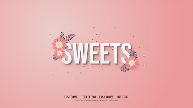 Text effect with white text illustrations with pink flowers.