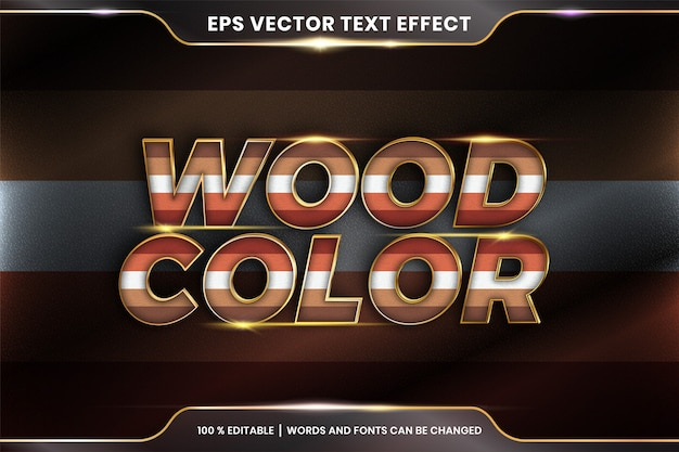 Text effect in  wood color words, text effect theme editable colorful pastel with metal gold color concept