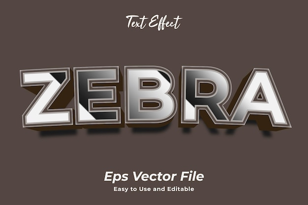 Text effect zebra easy to use and editable premium vector