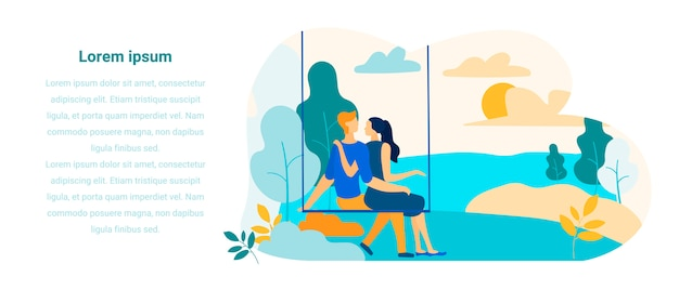 Text flat banner presenting people relationships