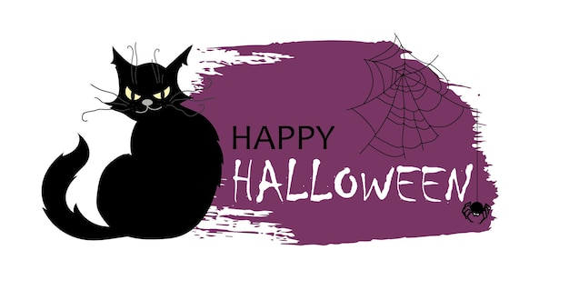 Text frame with a black cat for halloween in the grunge style.