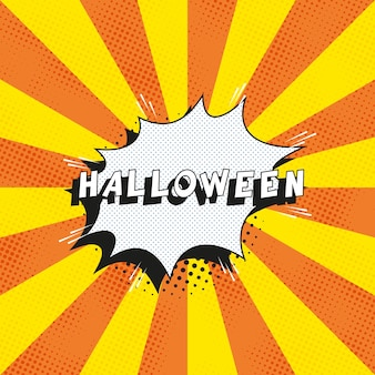 Text 'halloween' in retro comics speech bubble on orange background with radial lines and halftone dots
