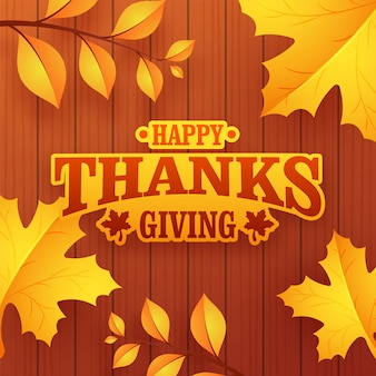 Text happy thanksgiving day on wooden textured background.