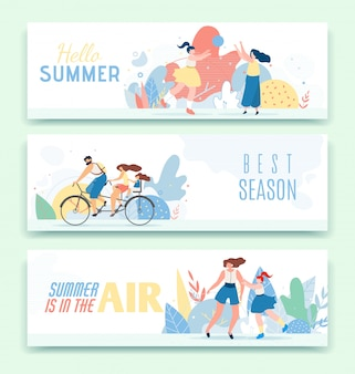 Text header banner set. cartoon happy family resting together