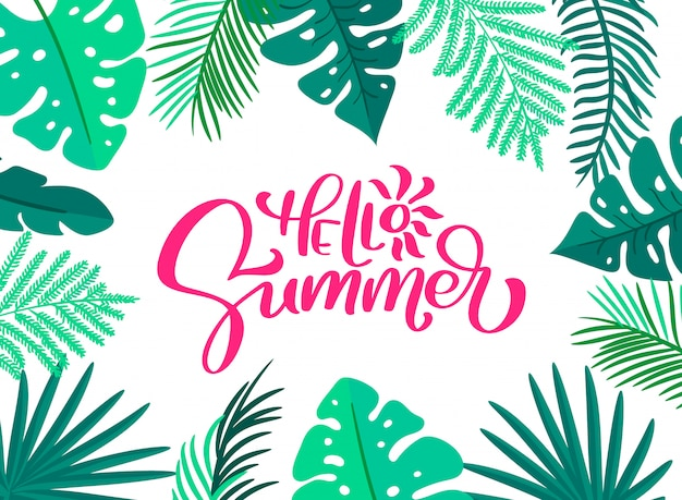 Text hello summer in floral leaves frame card
