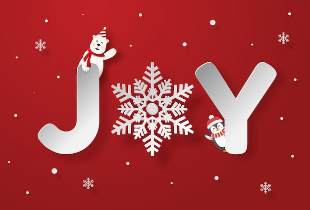 Text joy on red background, merry christmas and happy new year