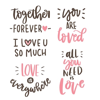 Text-love hand lettering collection