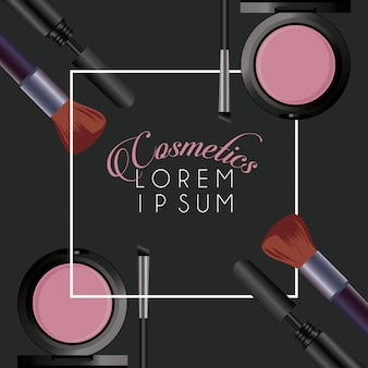 Text and makeup cosmetics square frame in black background