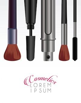 Text and makeup cosmetics Premium Vector