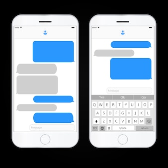 Text message boxes on smartphone
