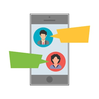 Text message. sms between man and woman on a mobile device. people icon in flat style. vector illustration