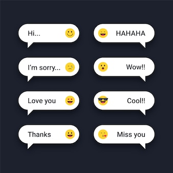 Text messages with emojis reactions