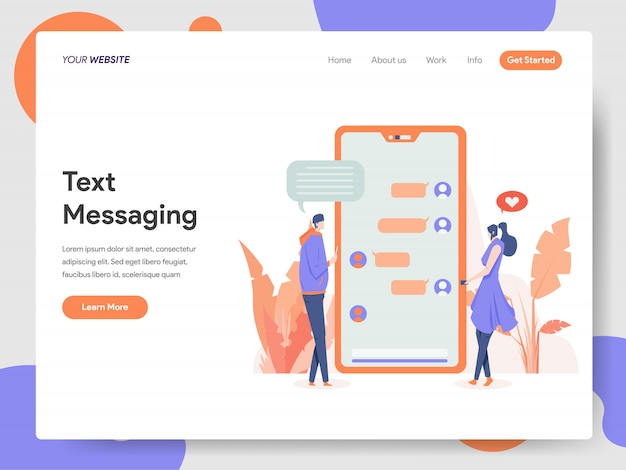 Text messaging banner of landing page