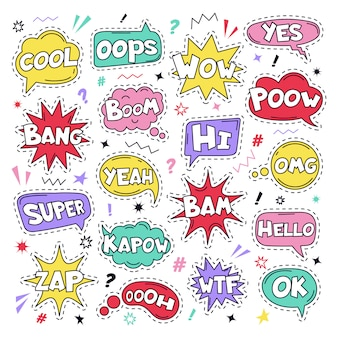 Text patch stickers. speech comic funny text patches, cool, bang and wow doodle comical speech clouds, thinking bubbles and comics words  illustration icon set. oops, yes and ok, wtf signs