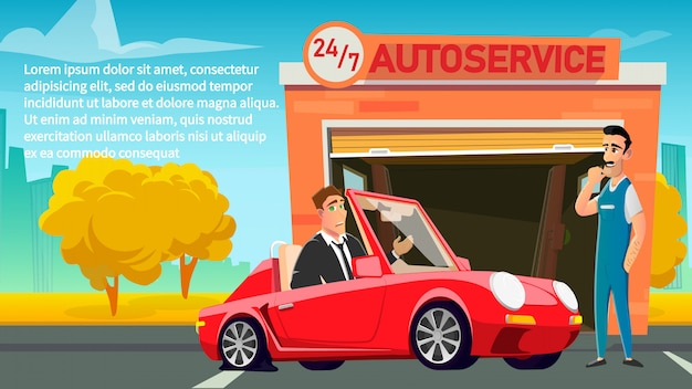 Text poster advertise round the clock autoservice