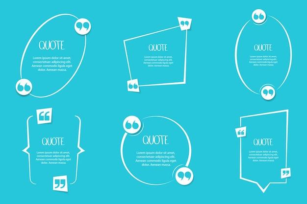 青い背景のテキスト引用記号。引用、指示、熱い感嘆のために使用します。