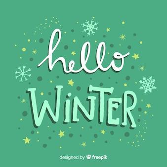 Priorità bassa di inverno dei fiocchi di neve del testo
