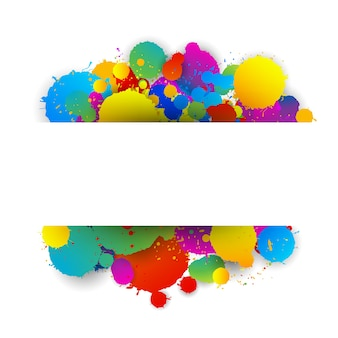 Text space white paper on colorful splashes background