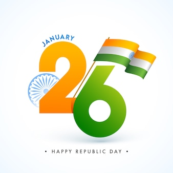 Text with ashoka wheel and indian wavy flag on white background for happy republic day.