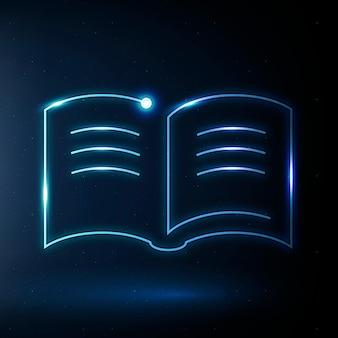 Icona di istruzione del libro di testo grafica vettoriale blu di tecnologia e-book