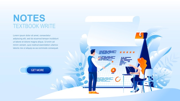 Textbook notes flat landing page with header, banner  template.