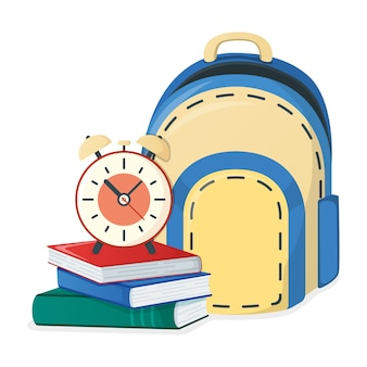 Textbook, school book and backpack, alarm