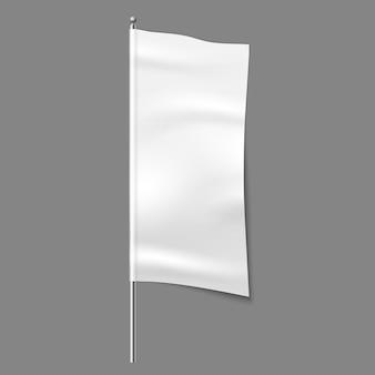 섬유 광고 플래그. 빈 직물 흰색 세로 천 기호, 섬유 리본 이랑