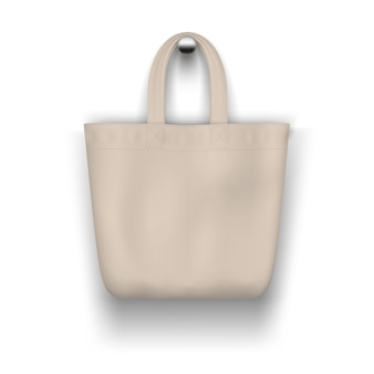 Textile beige tote  bag hanging on the wall realistic    for  shopping .