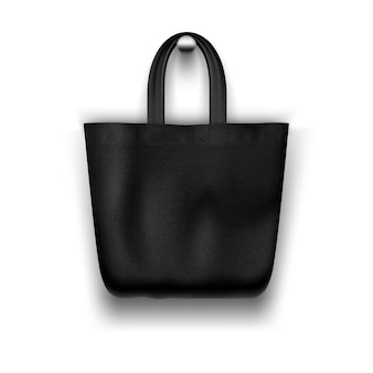 Textile  black tote  bag hanging on the wall realistic    for  shopping desig