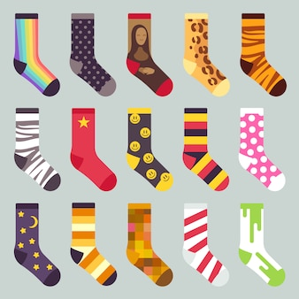 Textile colorful child warm socks. set of sock with colored pattern, illustration