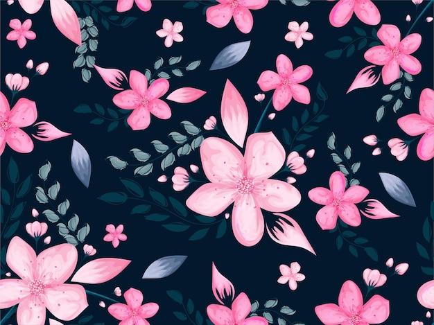 Textile design of beautiful cherry blossom flower background premium vector