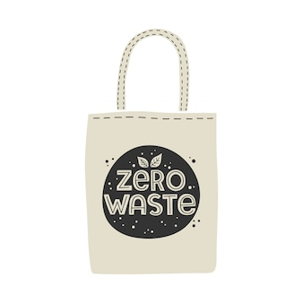 Textile eco-friendly reusable shopping bag with lettering zero waste.