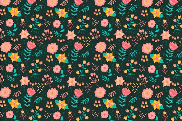 Textile fabric ditsy colourful flowers background