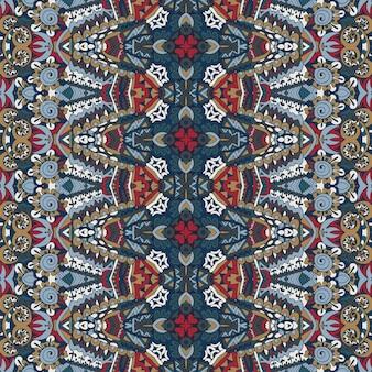 섬유 직물 ikat 디자인 민속 예술. 민족 추상 원활한 축제 boho 패턴 배경 장식
